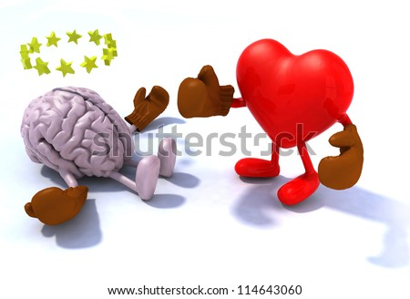 Heart fighting brain, 3d cartoon with boxing gloves - stock photo