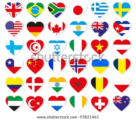 Heart flag stickers - stock photo