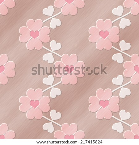 Heart flower seamless relief painting on generated metal texture background