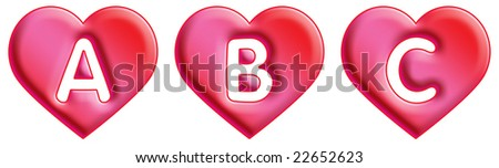 Heart Font - letters - A, B & C - stock photo