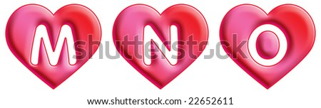 Heart Font - letters - M, N & O - stock photo