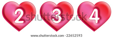 Heart Font - numbers - 2, 3 & 4 - stock photo