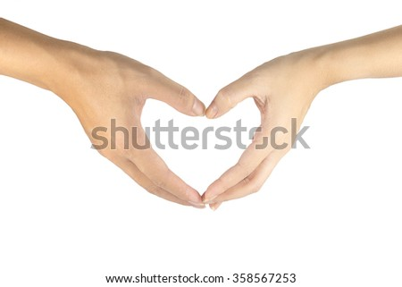 Heart formed by male and female hands on white background.