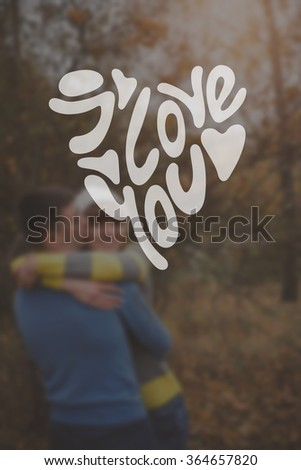 Heart Formed From i love you Text -Handmade Calligraphy. happy hugging couple - stock photo