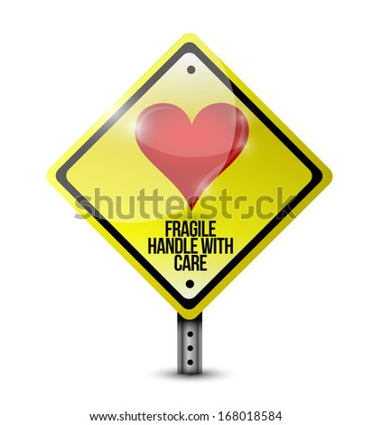 heart fragile handle with care sign illustration design over a white background - stock photo