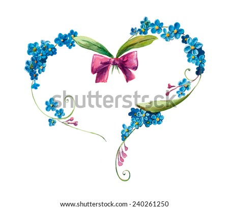 Heart frame from blue flowers. Flower backdrop. Decoration with blooming forget me not, hand drawing watercolor illustration. Decorative frame for celebration - stock photo