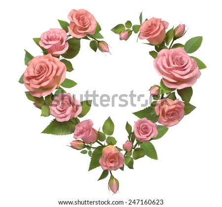 Heart frame from rose isolated on white.