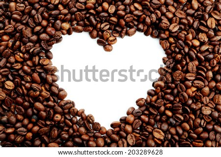 Heart from coffee beans - stock photo