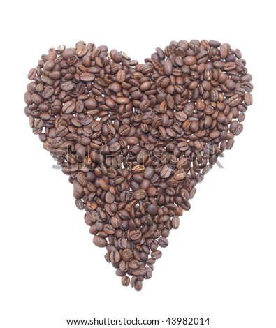Heart from coffee beans. Isolated object.