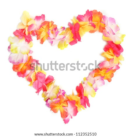 Heart from flowers necklace. Traditional Hawaiian decoration. - stock photo