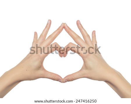 Heart from hands on a white background - stock photo