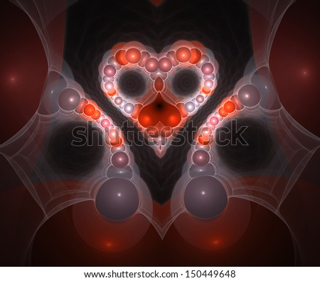 Heart from pearls.	Computer generated fractal artwork.