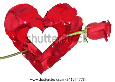 Heart from petals with red rose love topic on Valentine's and mothers day isolated with copyspace - stock photo
