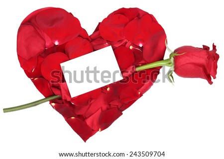 Heart from petals with red rose love topic on wedding, Valentine's and mothers day with copyspace - stock photo
