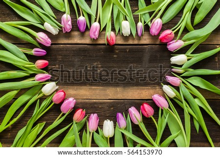 Heart From Pink Tulips Flowers On Rustic Table For March 8 International Womens Day