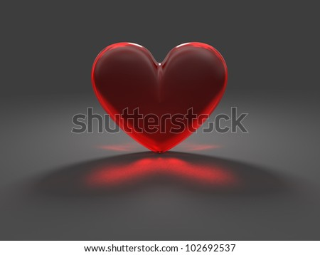 Heart from red frosted glass with caustic effect rendered at dimmed light