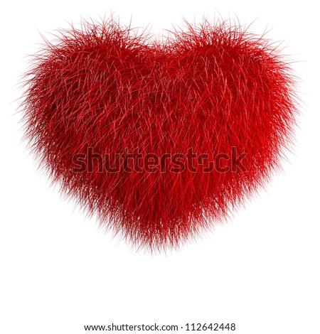 Heart from red fur. 3d render illustration isolated over white - stock photo