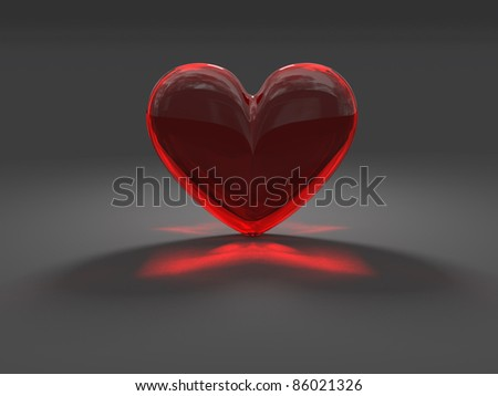 Heart from red glass with caustic effect rendered at dimmed light