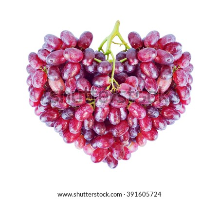 heart from red grapes with drops of water, isolated on white - stock photo