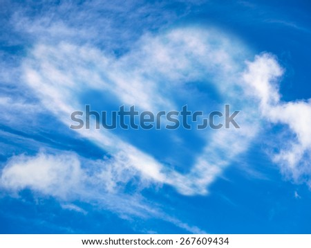 Heart from the clouds in the sky - stock photo