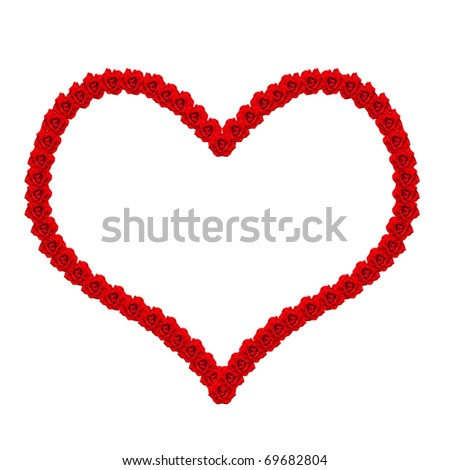 Heart from the roses with water drops - stock photo