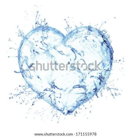Heart from water splash isolated on white - stock photo
