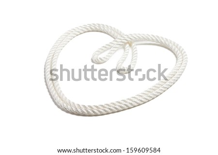 Heart from white rope isolated on white background - stock photo