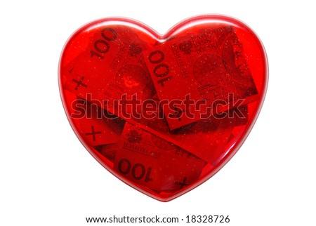 heart full of money isolated on white background - stock photo