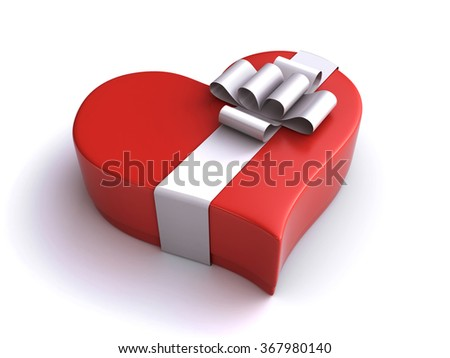 heart gift box - stock photo