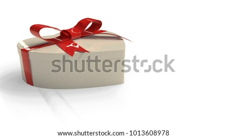 Heart gift box on a white background, 3d render