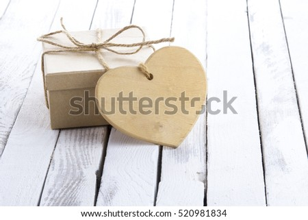 Heart gift box rustic wooden background