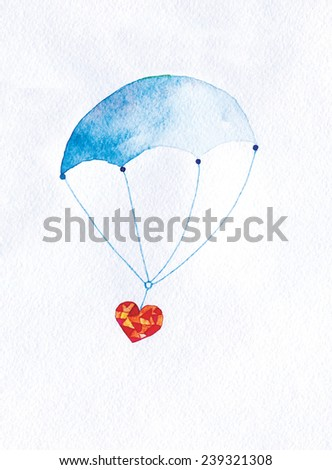 heart gift flies on a parachute. watercolor illustration.
