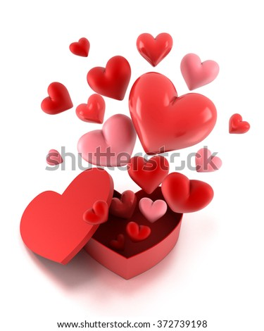 Heart gift present box with fly hearts over white. - stock photo