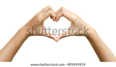 Heart hands of male or female isolated on white background, clipping path included.