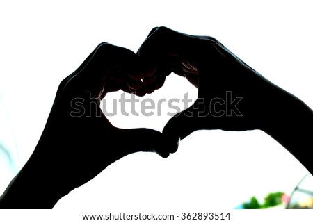 heart hands silhouette - stock photo