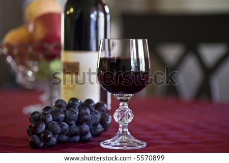 Heart Healthy Red Wine Glass, Bottle and Grapes