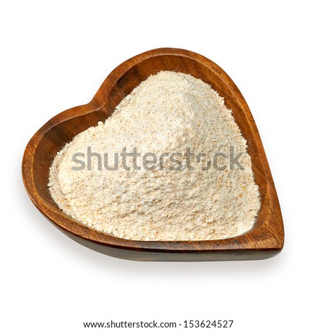 Heart healthy whole flour on white background