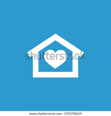 heart home icon, isolated, white on the blue background. Exclusive Symbols  - stock photo