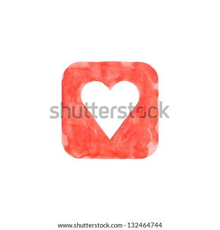 Heart icon red button with favorite sign. Isolated rounded square shape on white background created in watercolor handmade technique. Colored web design element UI user interface - stock photo