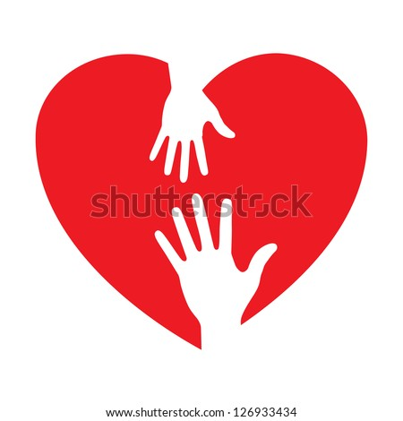 heart icon with caring hands logo, raster illustration - stock photo