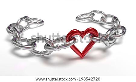 Heart in chain - stock photo