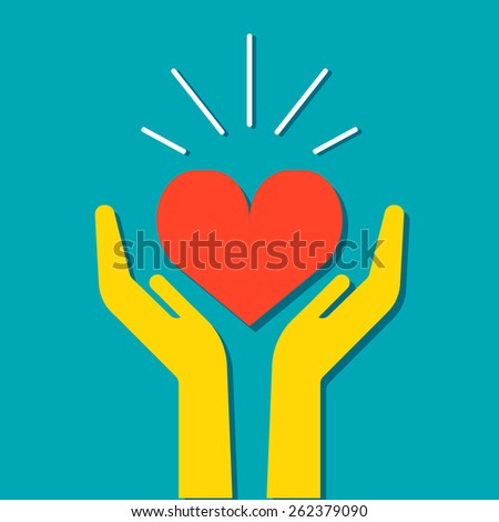 Heart in hands icon, flat design medical illustration. Flat design style. For web design and applications. - stock photo
