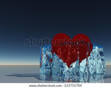 Heart in ice melting - stock photo