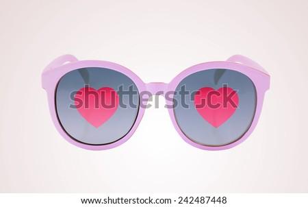 Heart in sun glasses - stock photo