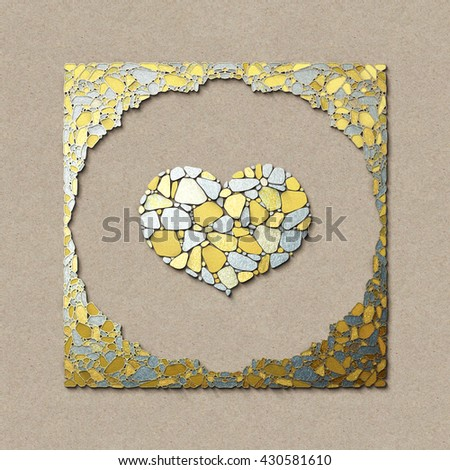 Heart in the frame with the pattern of stone masonry. Gold and Silver metal texture. Art background. Good for baby announcement, Valentines Day, Mother's Day, Easter, wedding, scrapbook, album cover.