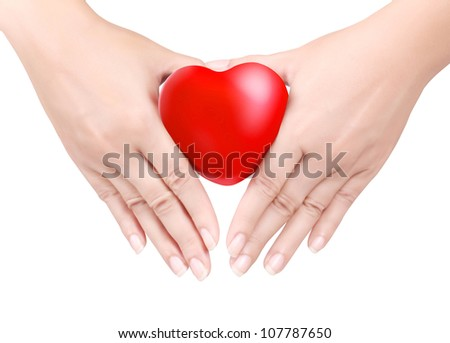 Heart in the hands on white - stock photo