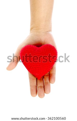 Heart in the hands on white background