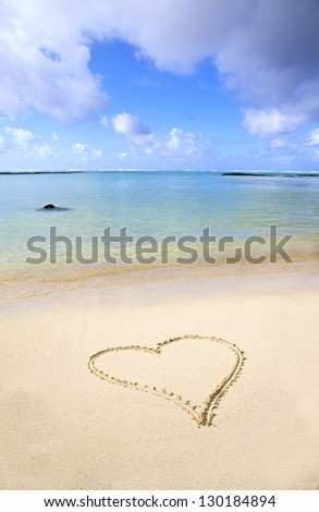 Heart in the sand - beach at Mauritius, Africa - stock photo