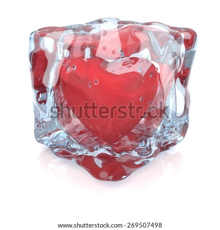 Heart inside the ice cube, 3D render - stock photo