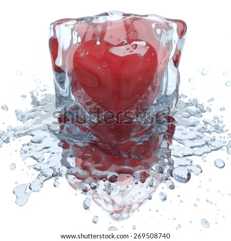 Heart inside the ice cube, with water splash, 3D render - stock photo